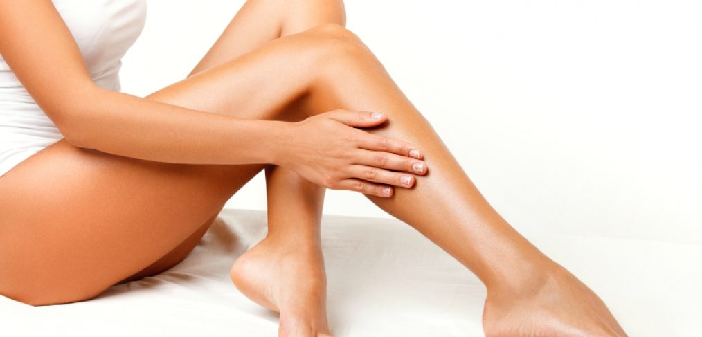 Woman showing off her silky legs
