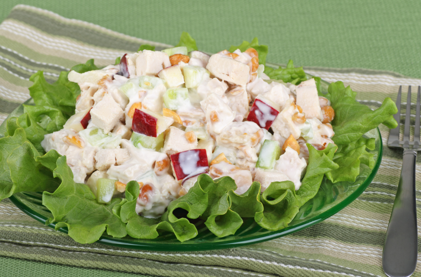 Beautifully arranged plate of chicken salad