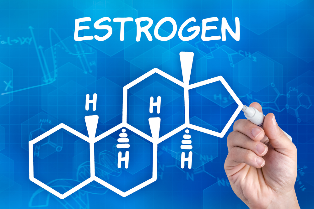 A pen drawing the chemical formula of estrogen.
