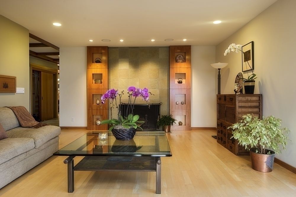 Beautiful interiors with wooden flooring and soothing lighting.