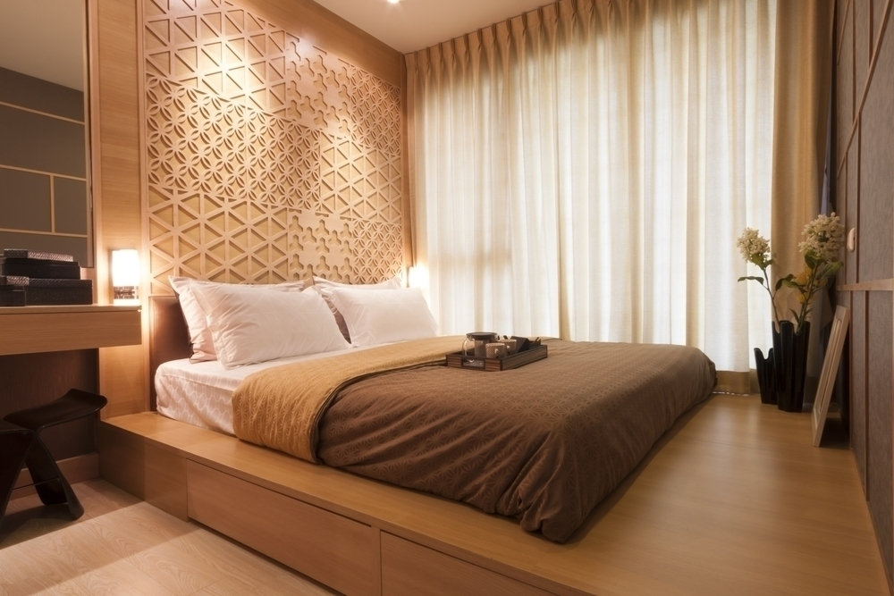 A peaceful Japanese styled bedroom