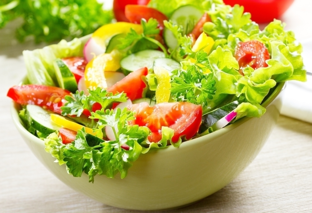 Fresh salad with green vegetables.
