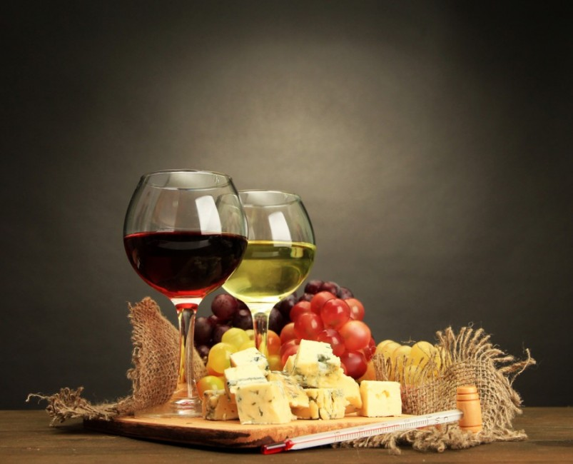 Assortment of wine and cheeses