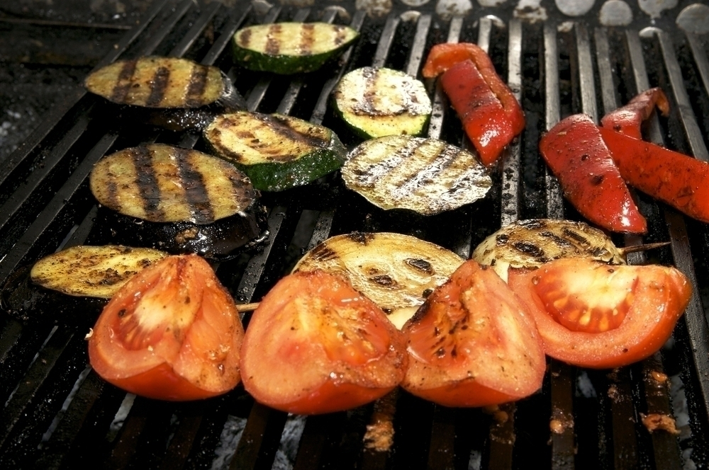 Vegetables on a grill.