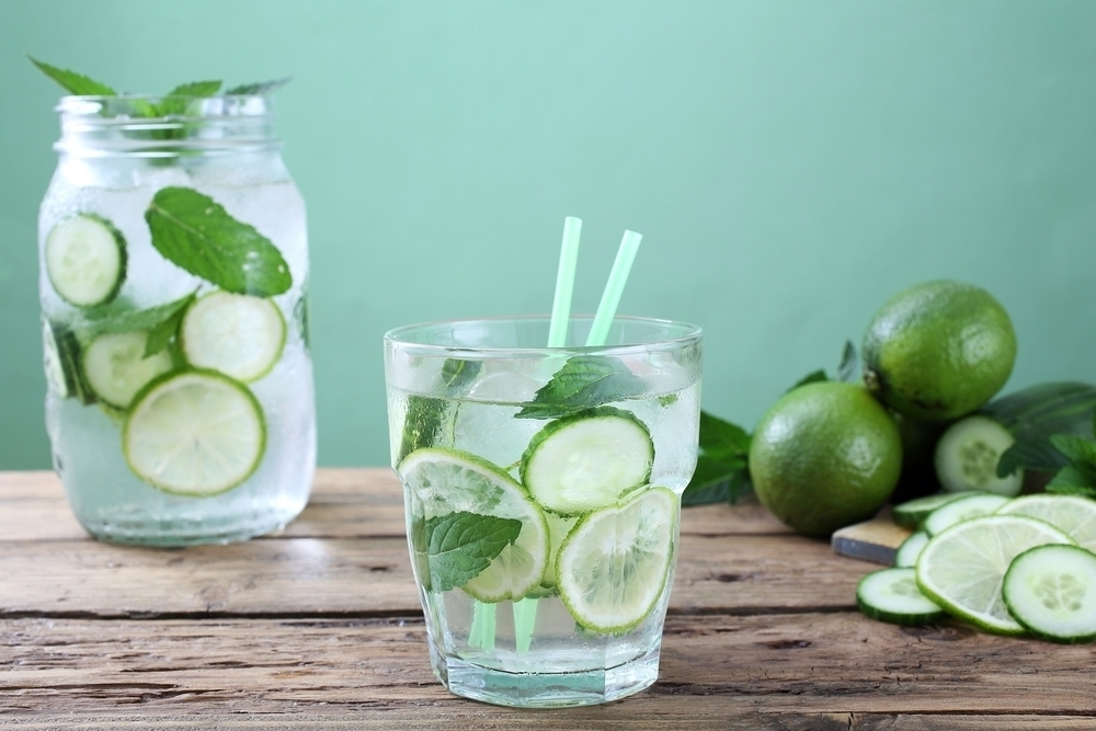 Lemon cucumber detox water.