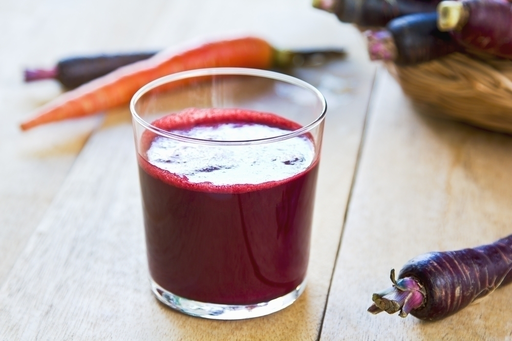 Purple carrot and carrot juice.