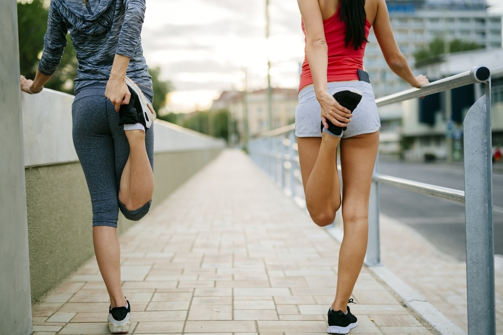 Women warming up before exercise