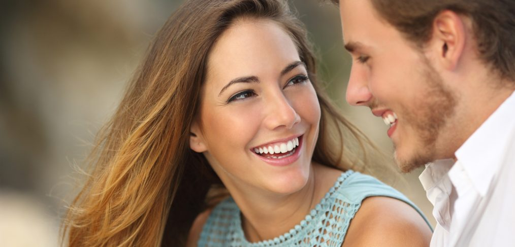 Beautiful woman smiling at her partner