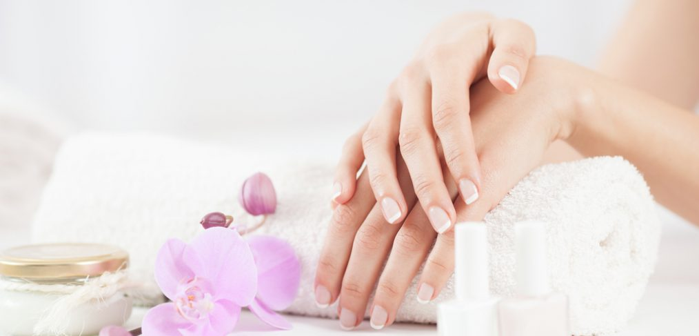 Clean hands with French manicure