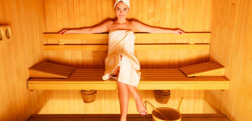 Woman relaxing in a suana