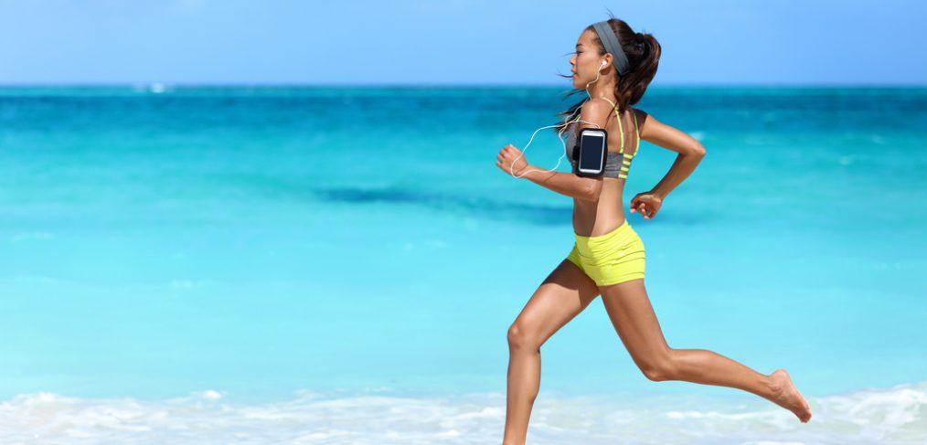 woman running barefoot