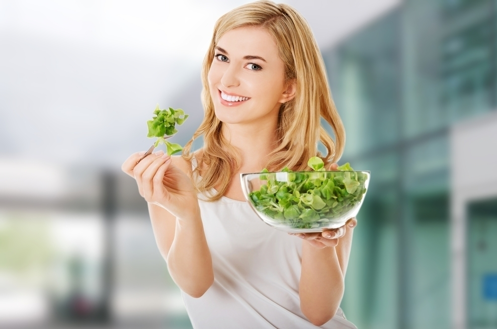 Woman with spinach