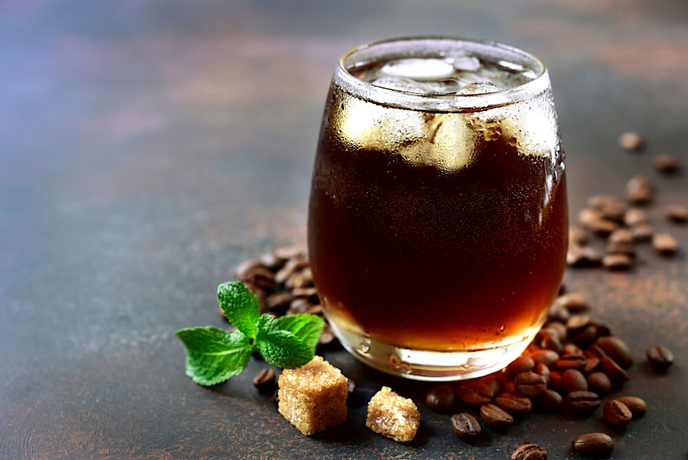 Cold brew coffee with mint and sugar