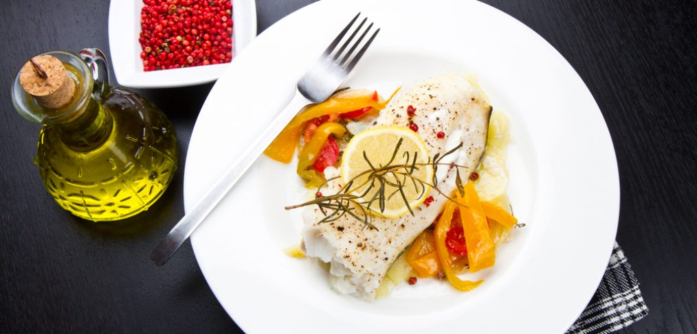 Grilled cod fish and vegetables