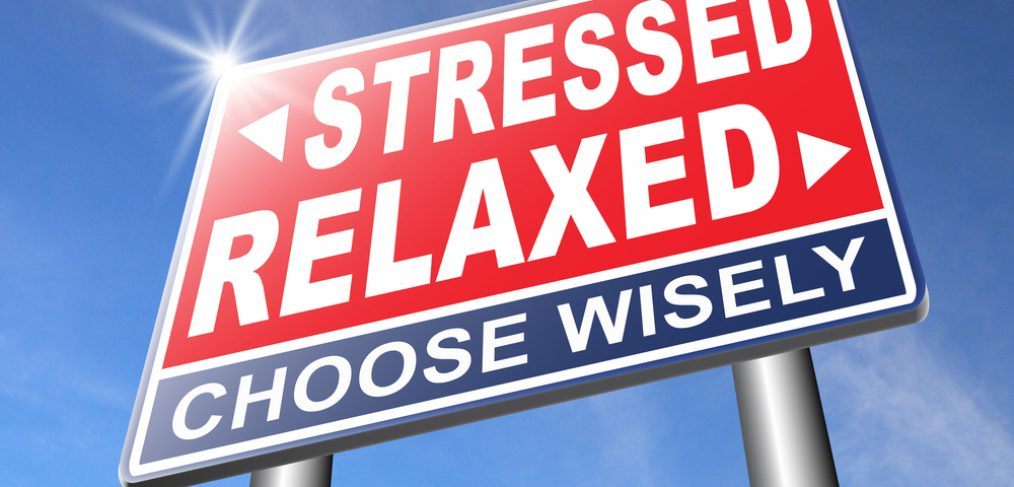 Sign board that points to which direction you would like to go. Stressed or relaxed?