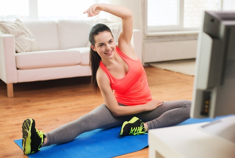 Woman exercise to video