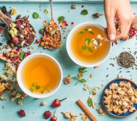 Flat lay of botanical teas