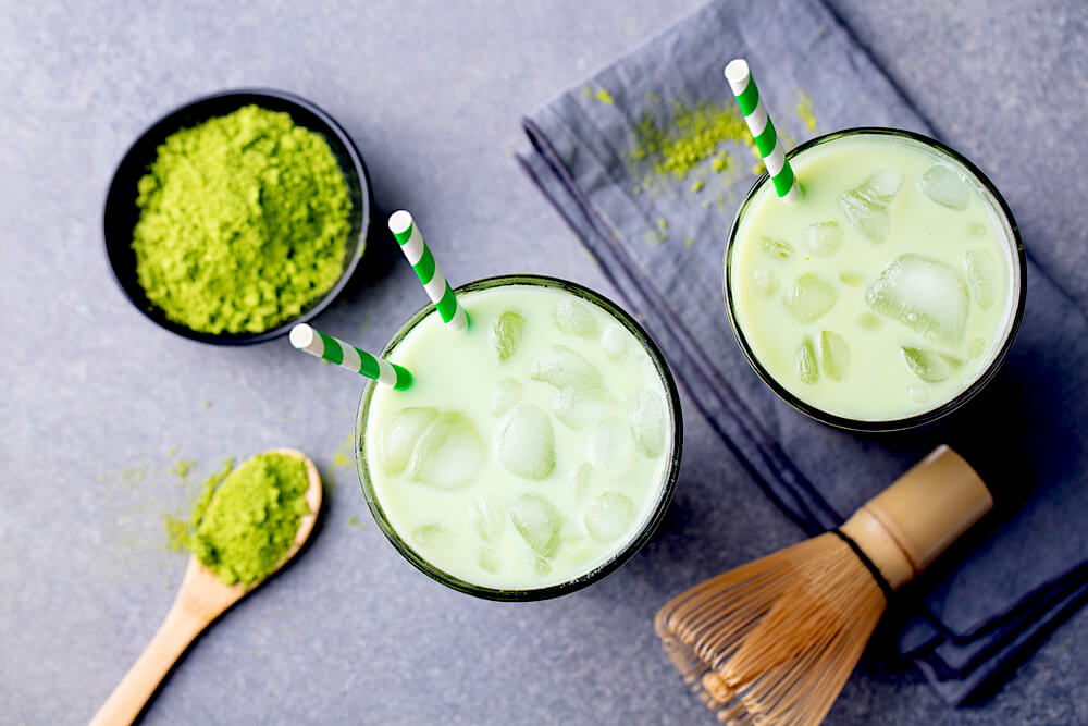 cold matche drinks and matcha powder
