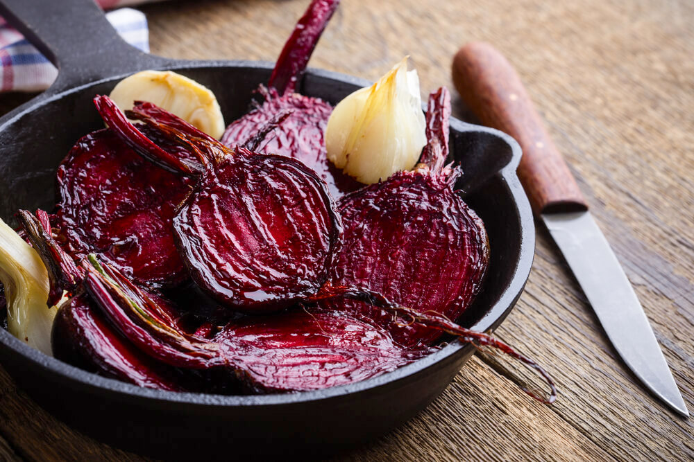 Roasted beetroot and shallots