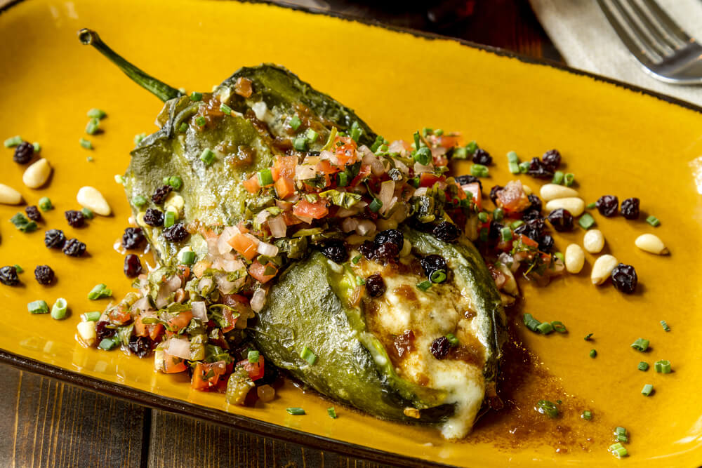 Large stuffed poblano pepper