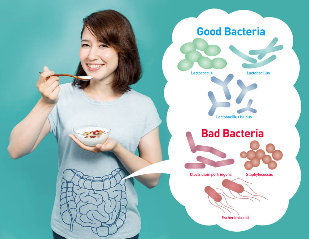 woman eating probiotics