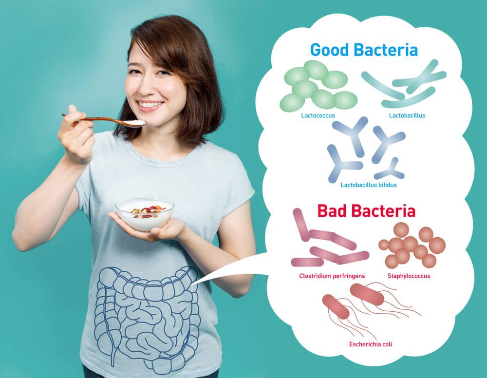 woman eating probiotics