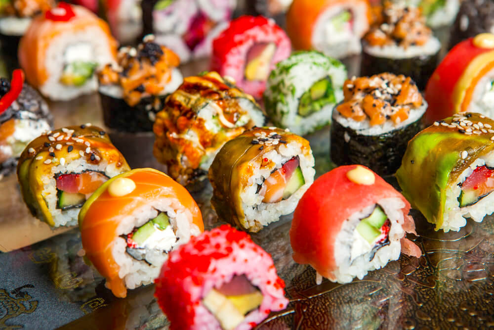 Colorful sushi is little rows