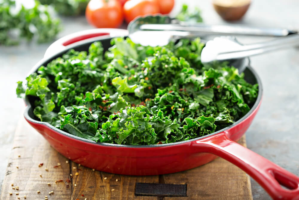 Stir-fried kale in a pan