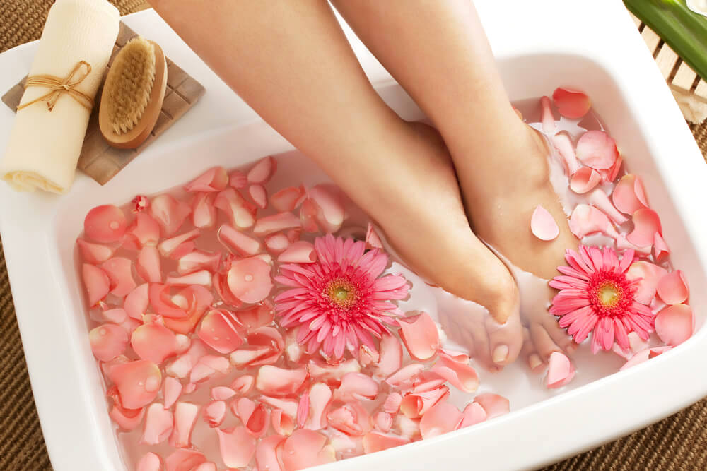 Foot soak with flower petals
