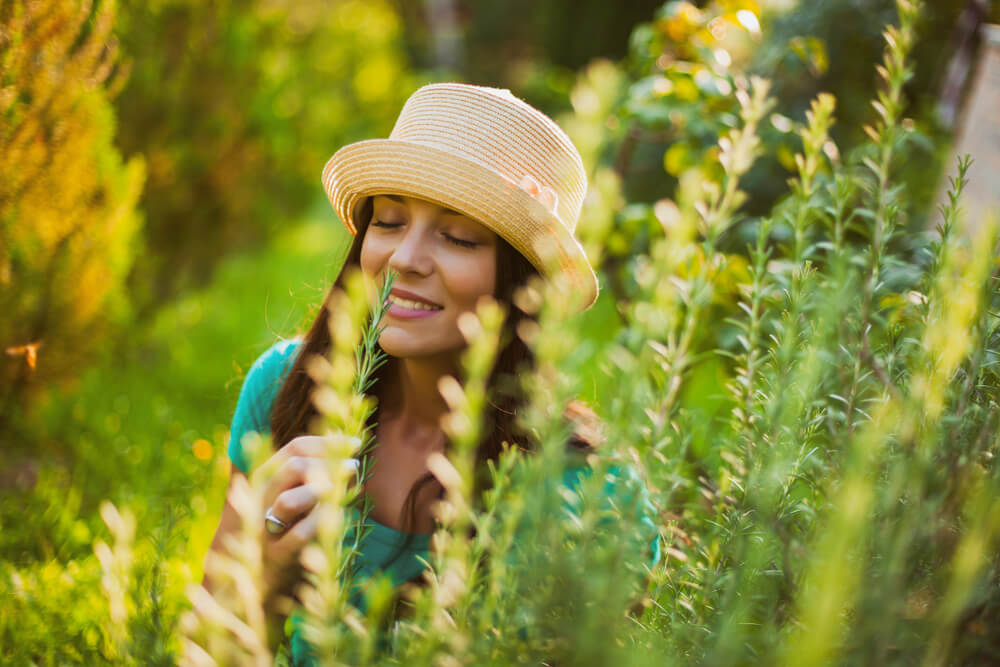 Woman enjoying the scent of rosemary in her garden